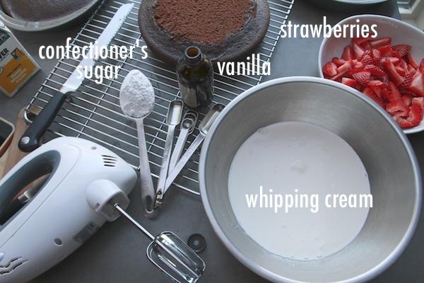 Chocolate Cake with Strawberries & Cream // shutterbean