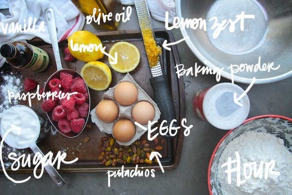 Lemon Cake with Raspberries & Pistachios // shutterebean