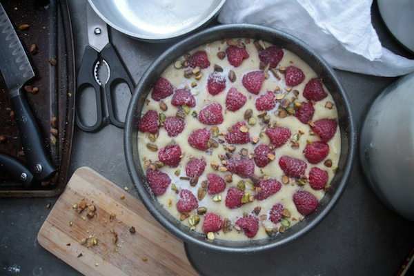 Lemon Cake with Raspberries & Pistachios // shutterebean