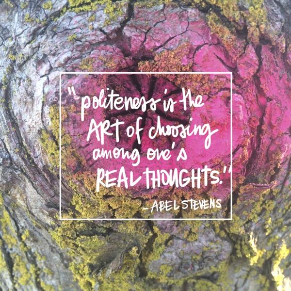 Politeness is the art // shutterbean