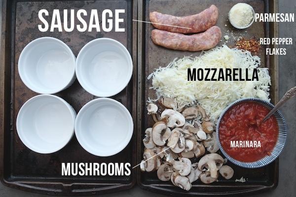 Sausage + Mushroom Pizza Bowls || shutterbean