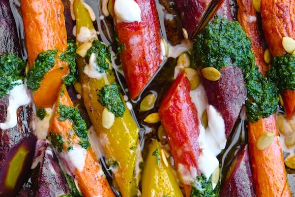 Roasted Carrots with Yogurt & Cilantro Sauce || shutterbean