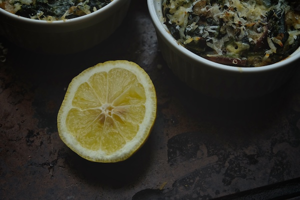 Mushroom & Spinach Baked Rice Bowls // shutterbean