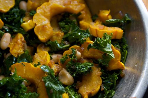 Delicata Squash Kale & Cannellini Beans