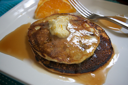 Blueberry Cornmeal Pancakes with Orange Maple Butter