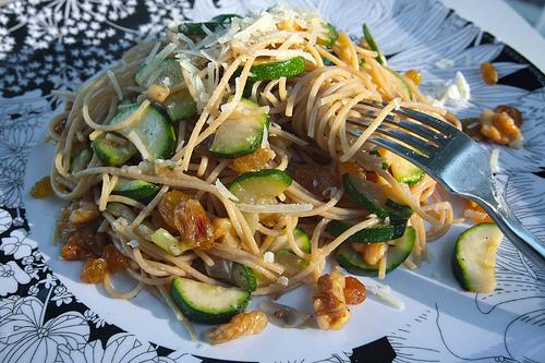 Spaghetti with Zucchini Walnuts & Raisins