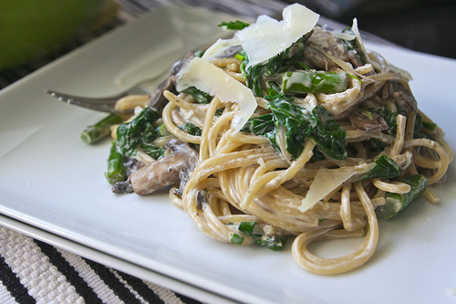 Mushroom Spinach & Asparagus Pasta