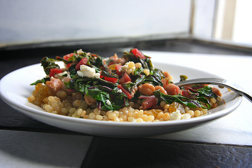 Couscous with Swish Chard, Raisins & Feta