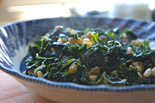 Kale with Golden Raisins & Pine nuts