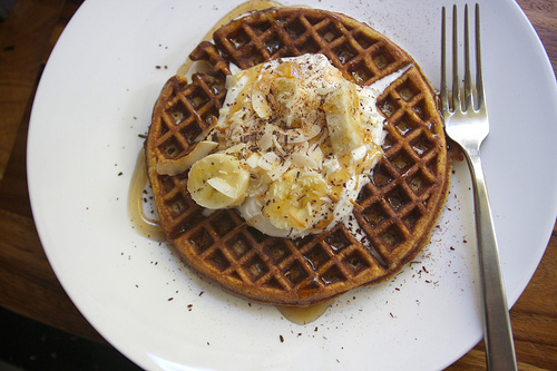 Coconut Waffles with Maple Cream