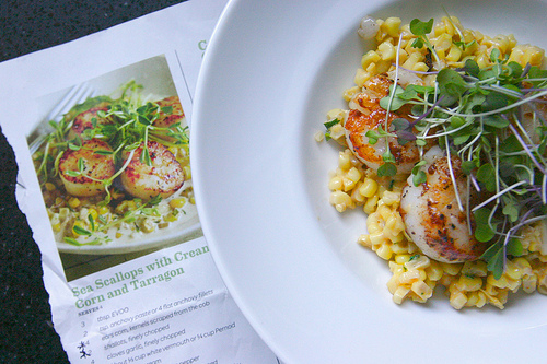 Scallops with Creamed Corn and Tarragon