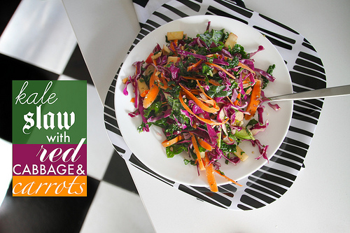 Kale Slaw with Red Cabbage & Carrots