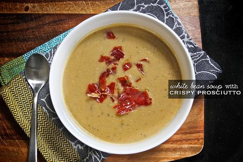 White Bean Soup w/ Crispy Prosciutto