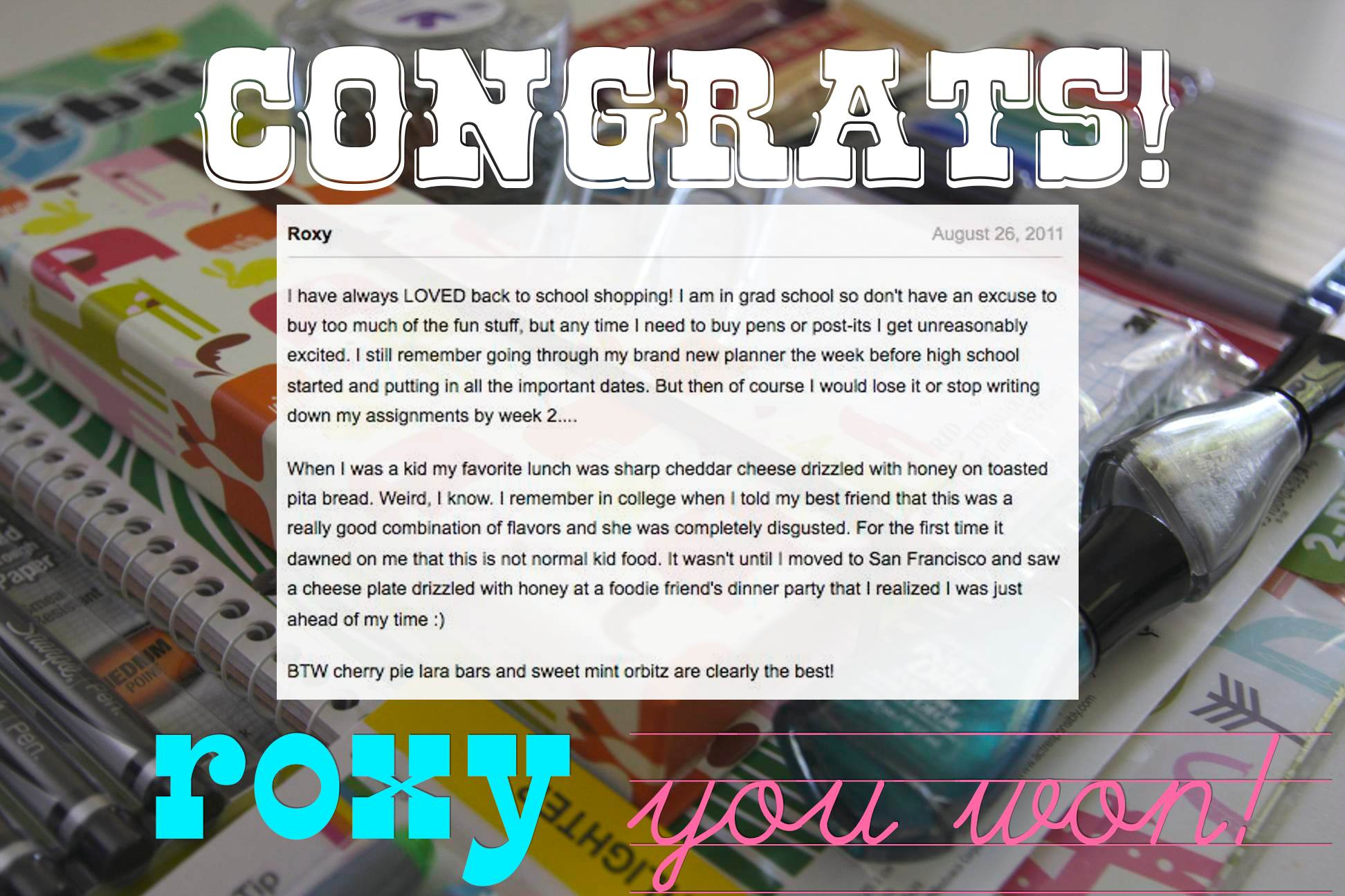 SCHOOL SHOPPING GIVEAWAY WINNER!