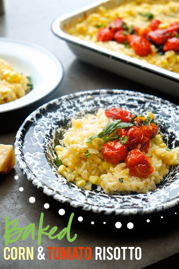 Don't feel like standing over a stove to make risotto? Use your oven instead! This Baked Tomato & Corn Risotto is on Shutterbean.com