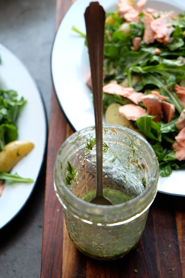 Salmon Potato Arugula Salad with a Dill Dressing is a simple/fancy salad to add to your rotation. Find the recipe at Shutterbean.com!