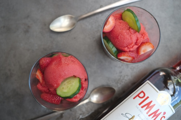 Fresh strawberry sorbet gets enchanted with Pimm's Liqueur. Check out the recipe for Strawberry Pimm's Sorbet on Shutterbean.com!