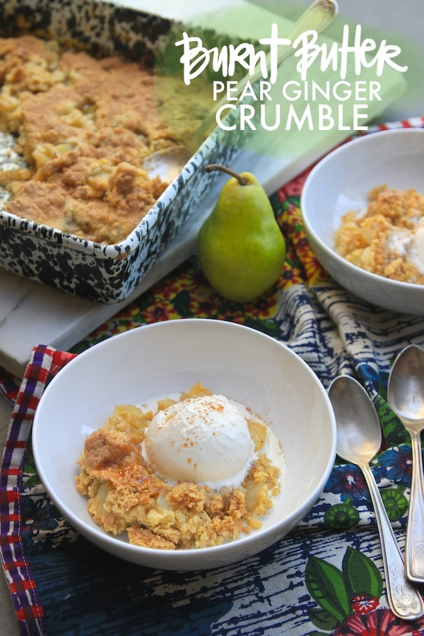 Burnt Butter Pear Ginger Crumble is the perfect way to celebrate pear season. Check out the recipe on Shutterbean.com!