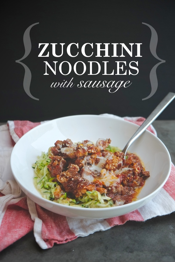 Whip up a really quick dinner for one with this Zucchini Noodles & Sausage recipe on Shutterbean.com !
