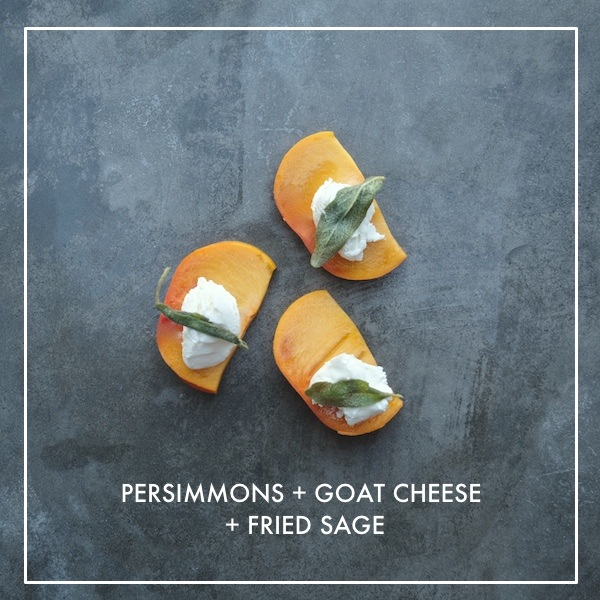 Persimmons with Goat Cheese & Sage -a perfect Autumn Snack. Check it out on Shuterbean.com!