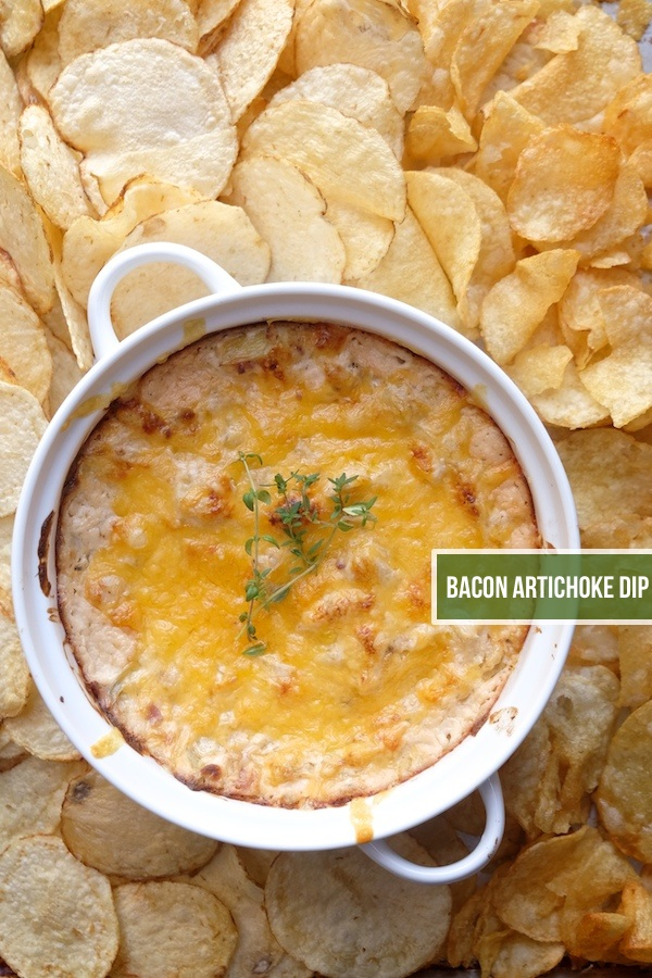 Hot Bacon Artichoke Dip with Kettle Brand Chips- Find the recipe at Shutterbean.com!
