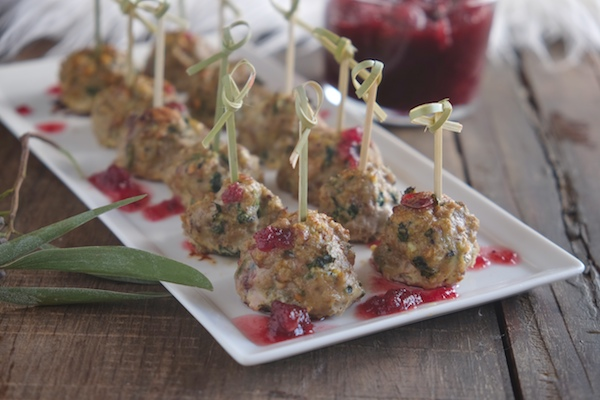 Turkey Cranberry Meatballs are a great way to round out your appetizer spread! Find the recipe on Shutterbean.com