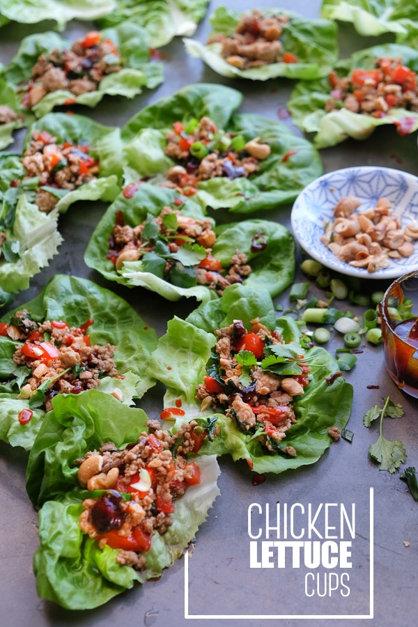 Chicken Lettuce Cups are a healthy low carb dinner option that comes together so easily. Find the recipe at Shutterbean.com!