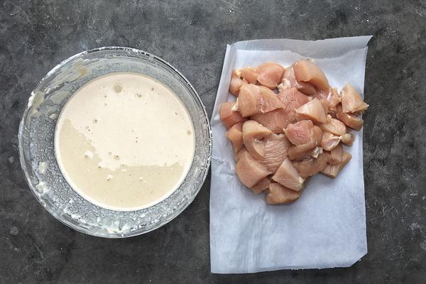 Crispy Gluten Free Chicken Nuggets with Honey Dijon Poppy Seed Dip. Find the recipe on Shutterbean.com!