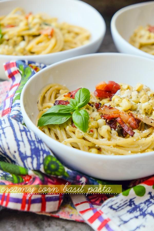 Creamy Corn Basil Pasta