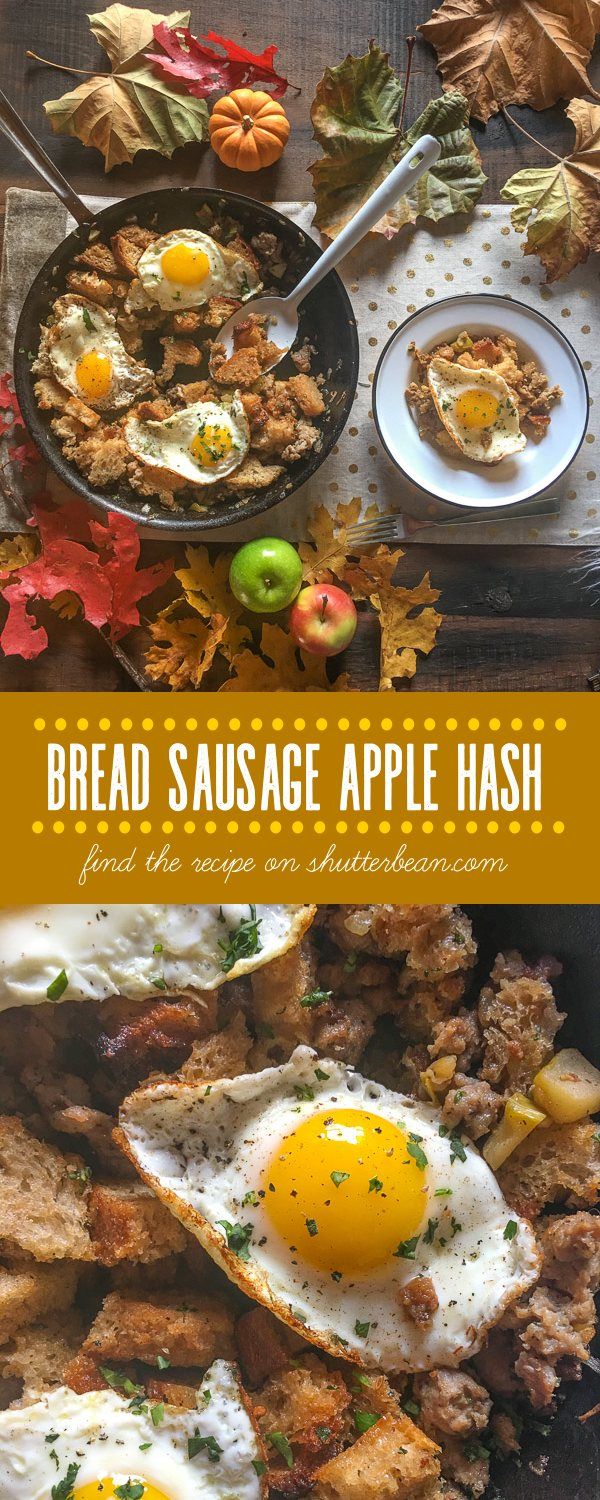 Bread Sausage Apple Hash is the perfect way to bring the flavors of Thanksgiving into breakfast. Find the recipe on Shutterbean.com