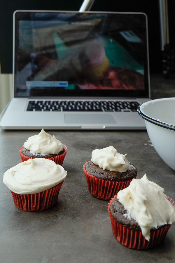 Small Batch Chocolate Cupcakes with Vanilla Bean Frosting. Recipe makes only 4! Check out more on Shutterbean.com