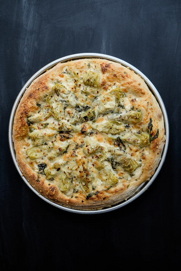 A few items from Trader Joe's and you have yourself Creamy Artichoke Pizza. Find the recipe on Shutterbean.com!