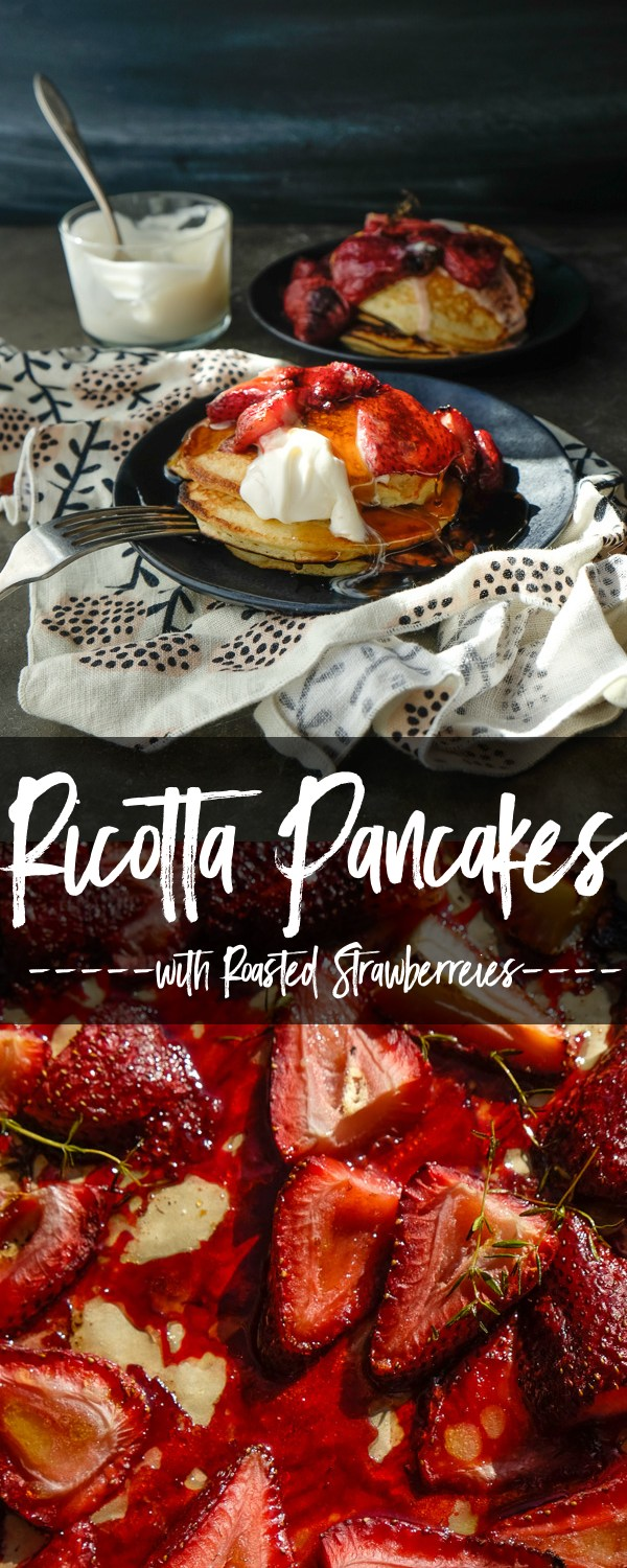 Light and Fluffy Ricotta Pancakes with Roasted Strawberries- find the recipe on Shutterbean.com!