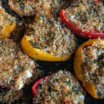 Baked Stuffed Peppers with Feta and Breadcrumbs is a vegetarian dream! Find the recipe on Shutterbean.com
