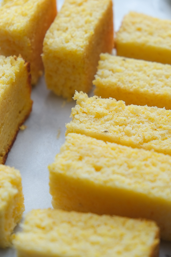 Polenta Cornbread is a meal prep staple! Great for breakfasts and snacks throughout the week, Recipe on Shutterbean.com!