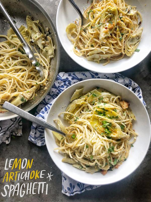 Lemon Artichoke Spaghetti with Bread Crumbs