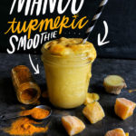 Mango Turmeric Smoothie is a great/healthy way to start the day. Coconut milk is the base, making it completely vegan! Find the recipe on Shutterbean.com