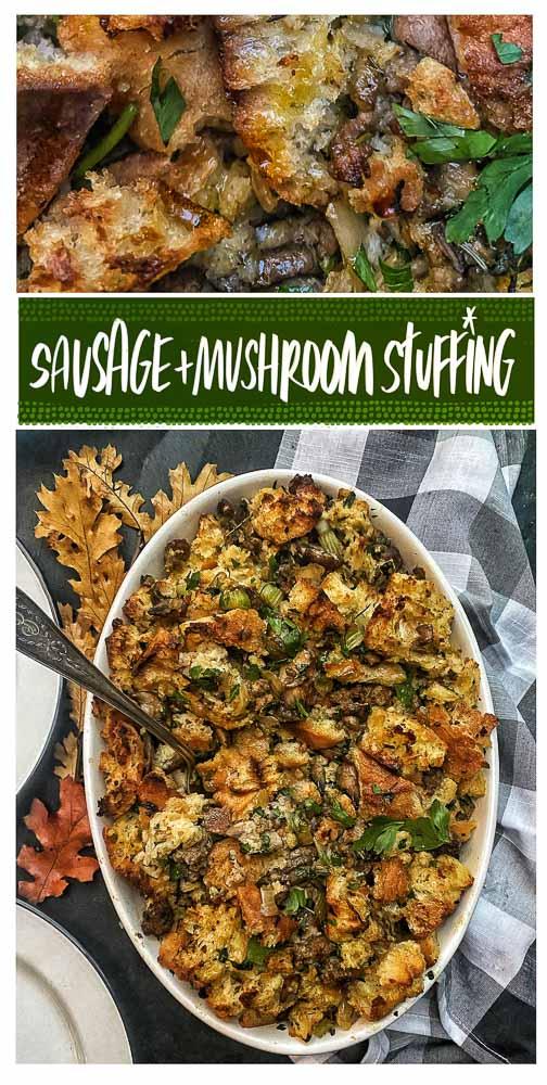 Add Sausge & Mushroom Stuffing to the menu this Thanksgiving. Recipe on Shutterbean.com