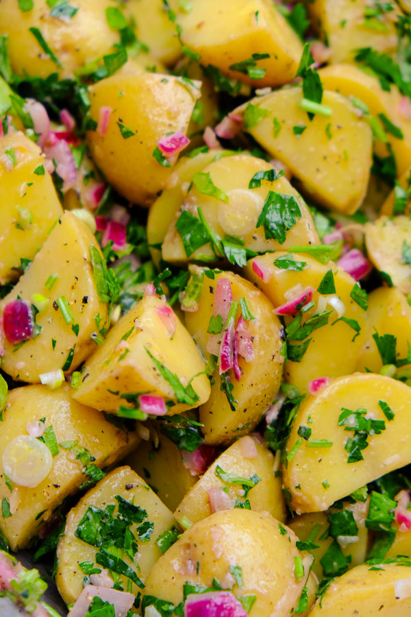 Herbed Potato Salad is one of Tracy Benjamin's Meal Prep Staples! Find the recipe on Shutterbean.com