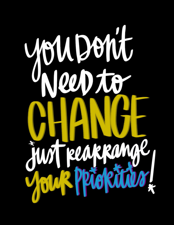 Change Your Priorities - i love lists artwork by Tracy Benjamin of Shutterbean.com