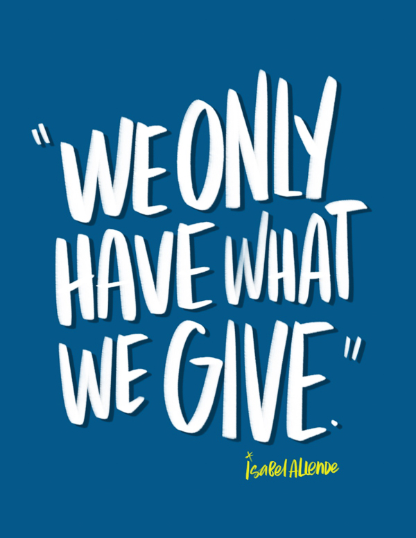 We Only Have What We Give // I love lists Tracy Benjamin