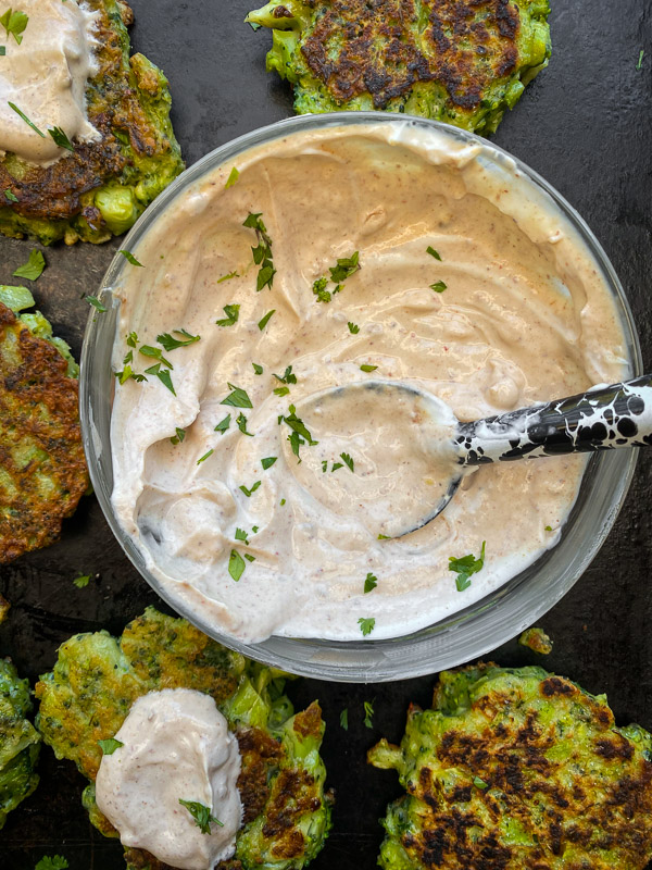 Broccoli Fritters with Chipotle Yogurt