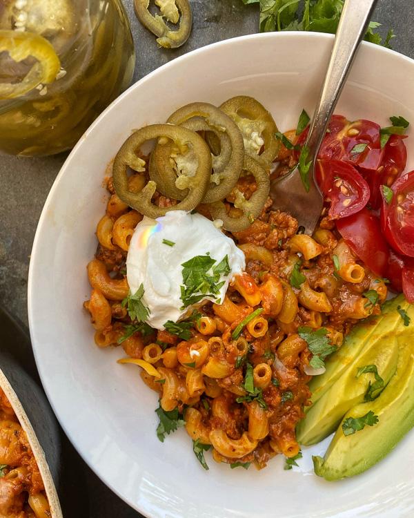 One Pan Vegetarian Taco Pasta